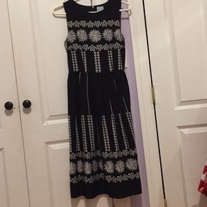 CeCe black and gray flower printed dress